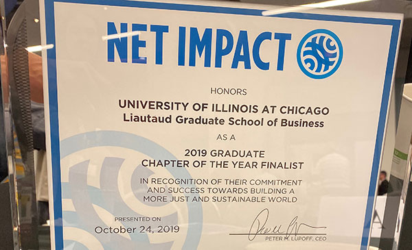 Certificate awarded to Net Impact as 2019 Graduate Chapter of the Year Finalist